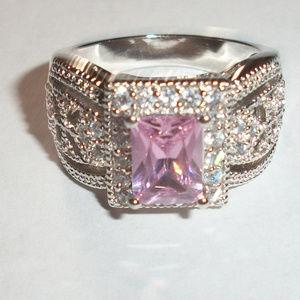 Pink Sapphire CZ Silver Princess Statement Ring